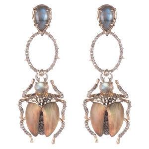Alexis Bittar Crystal Encrusted Scarab Earrings